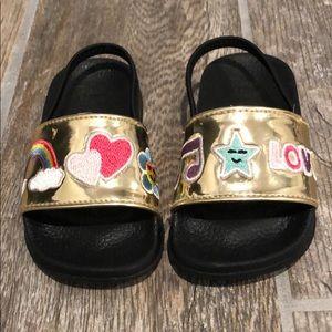 Other - Toddler girl metallic gold slides size 6